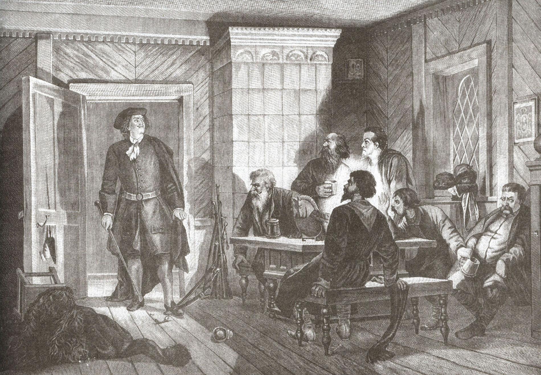 Адольф Шарлемань. Пётр I накрывает заговорщиков в доме Циклера 23 февраля 1697 года.jpg